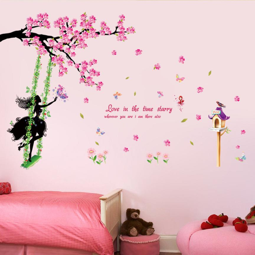 Wand Aufkleber schlafzimmer wohnzimmer Schmetterling Blume Fee Aufkleber Schlafzimmer Wohnzimmer Aufkleber Home Decor Drop Shipping May31