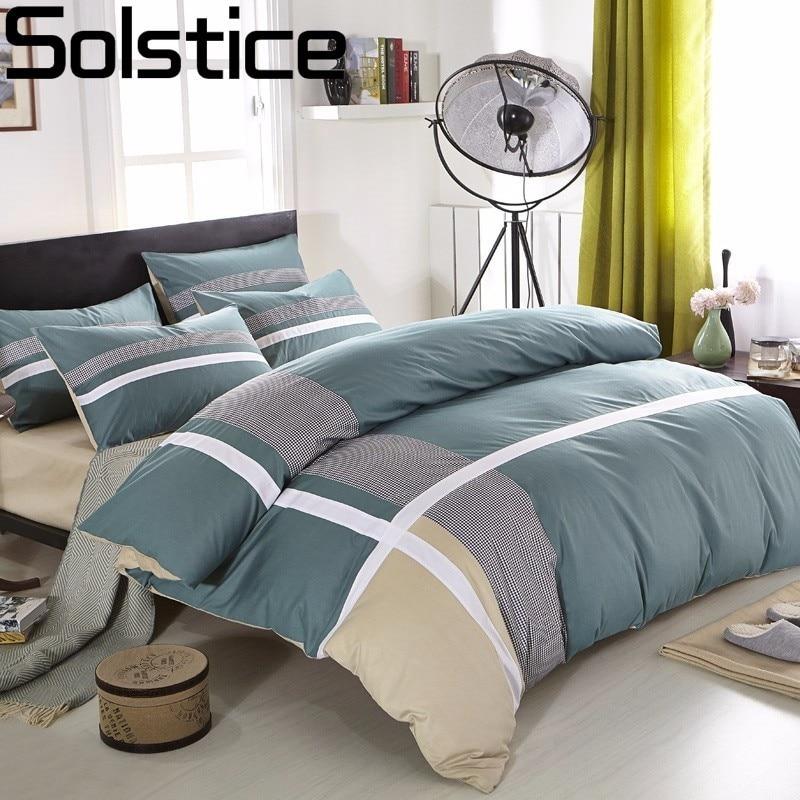 Набор постельного белья Solstice из 100% хлопка, 4 шт., домашний текстиль с перекрестными полосками, модное повседневное одеяло/пододеяльник, прос...