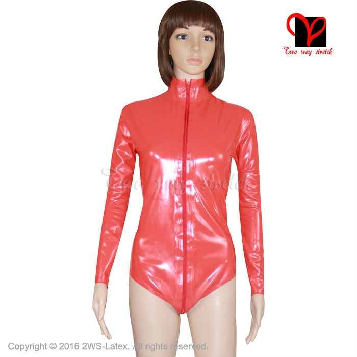 Red Sexy Latex catsuit Leotard high collar Rubber Bodysuit Gummi jumpsuit cat suit jump body tights long sleeved XXL TC-006