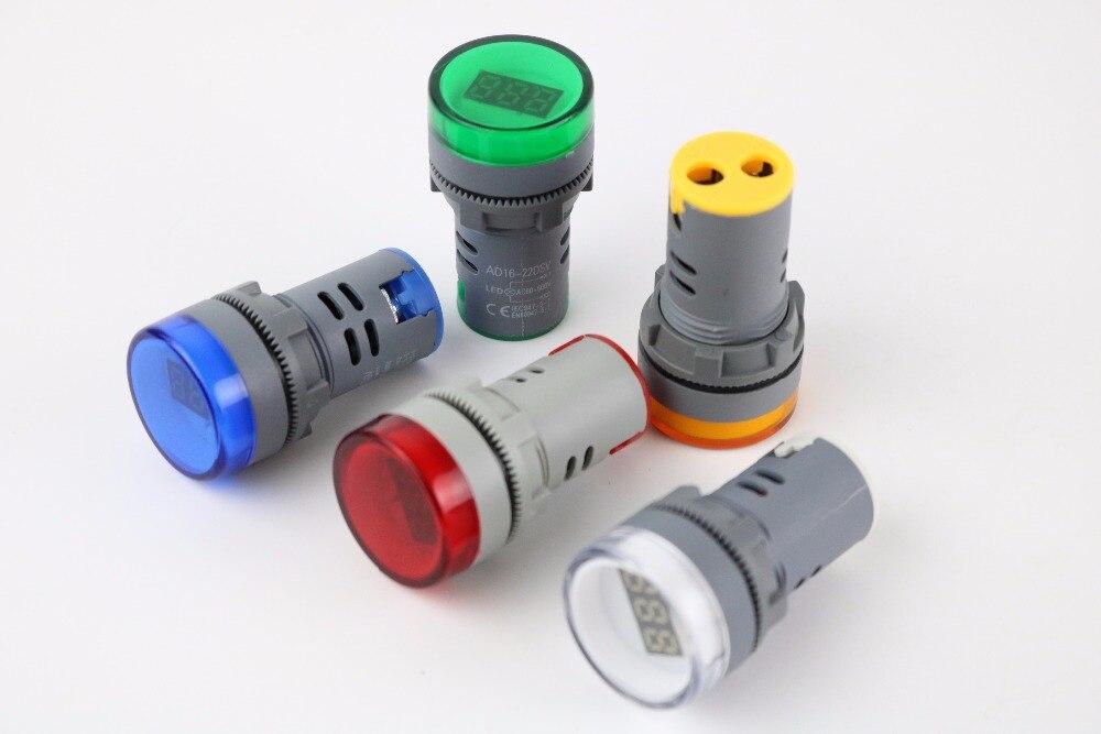 Светодиодный вольтметр, измеритель напряжения, 10 шт., 22 мм, переменный ток 60-500 В, красный, желтый, зеленый, белый, синий AD16