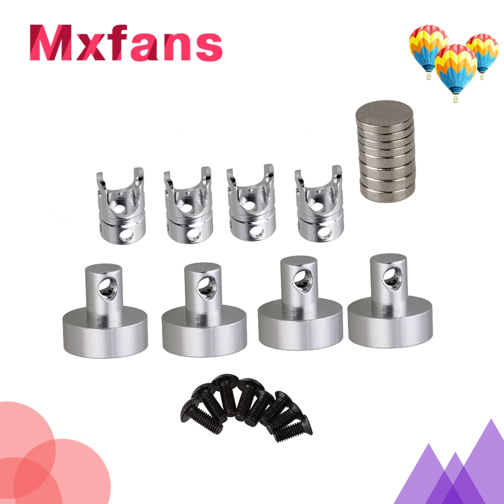 Mxfans 4pcs N10078 SILVER Alloy Magnetic Invisible Body Post Mount for RC1:10 Model Car