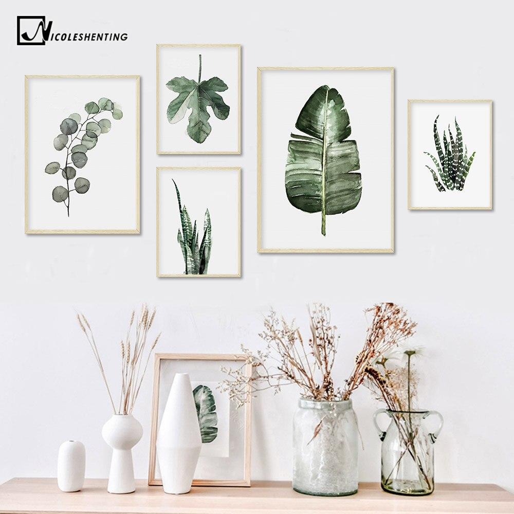 Cartel de hojas de plantas de acuarela cuadro sobre lienzo para pared cuadro de Estilo nórdico para sala de estar decoración del hogar cactus de decoración