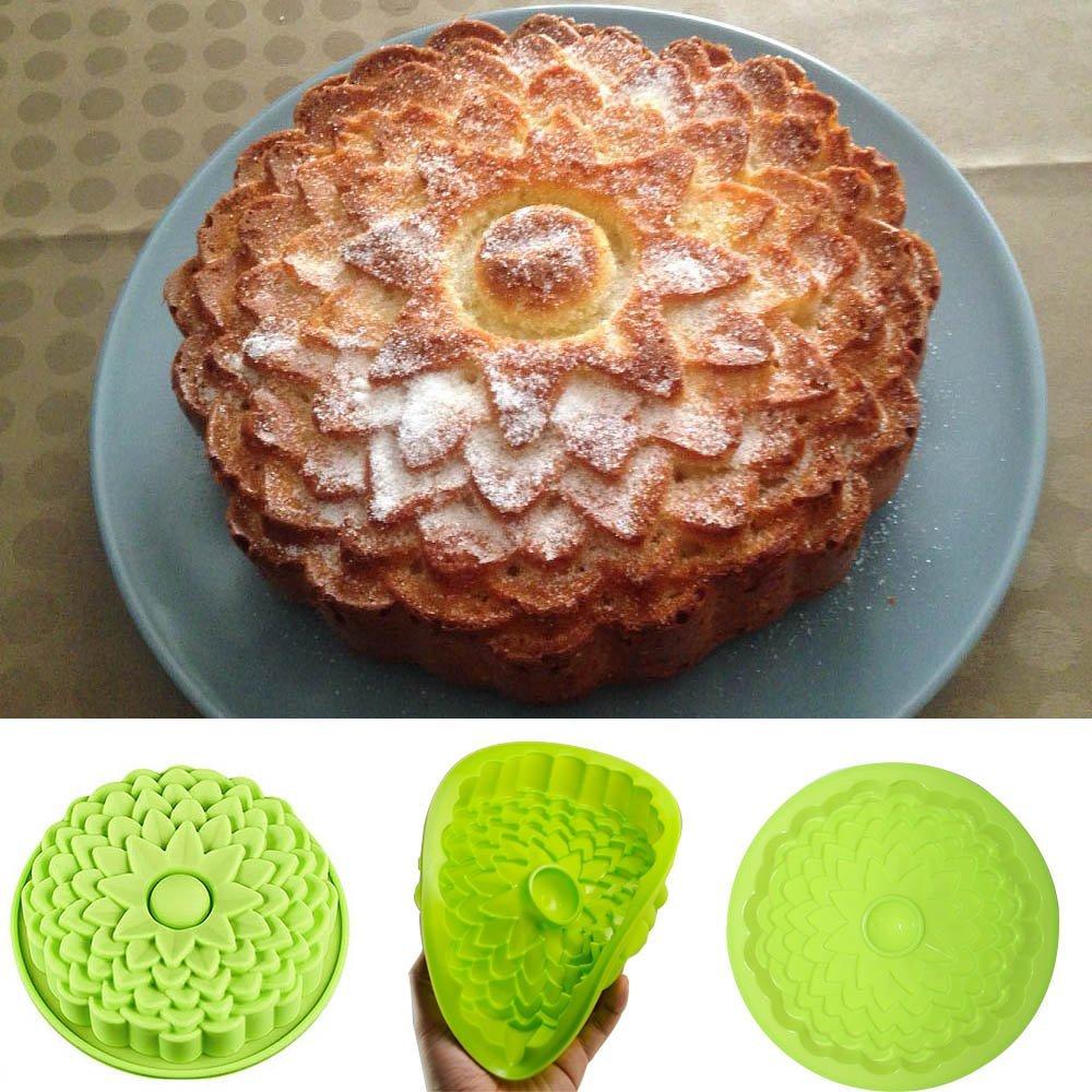 No-Stick en forma de flor de pastel de silicona pan pastel Flan tarta moldes ronda Margarita girasol rosa de tarta de silicona DIY moldes
