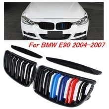 Çift parlak mat siyah M renk 2 satır araç ön ızgarası ızgara çift Slat BMW E90 E91 3 serisi 2004 2005 2006 2007