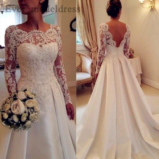 2020 Vintage Lace Wedding Dresses Long Sleeve Backless Appliques Satin Ivory Sweep Train Robe De Mariage Vestidos De Noiva