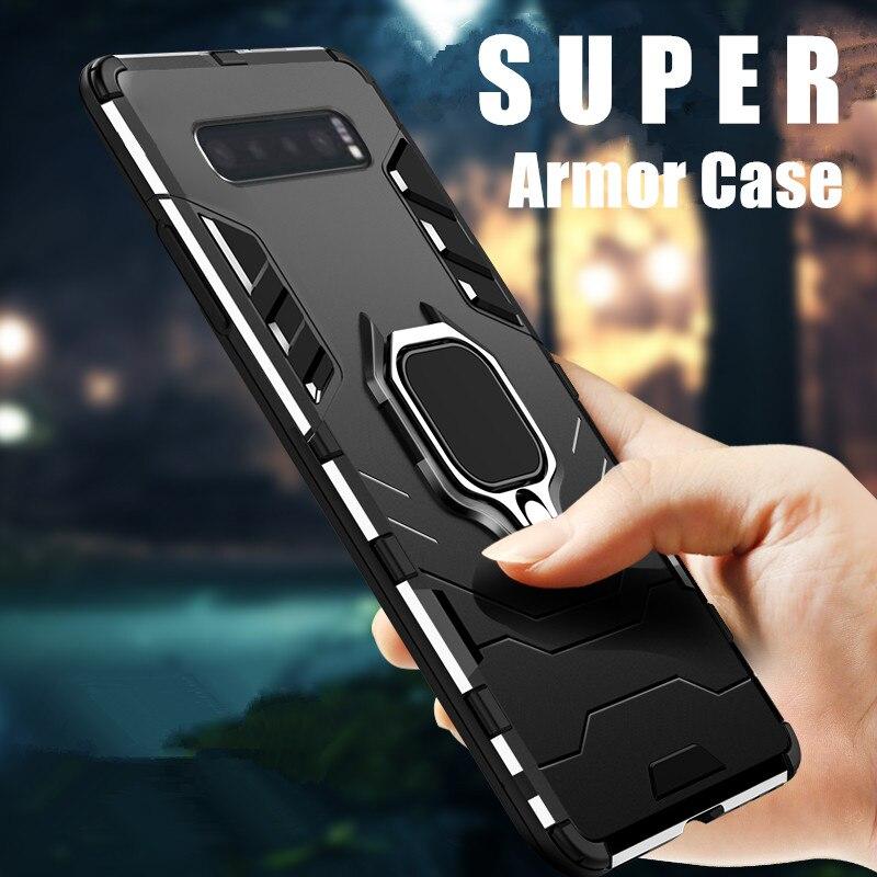 KEYSION a prueba de choques de la armadura funda para Samsung Galaxy Nota 10 S10 S9 S8 M30 M40 soporte coche funda del teléfono del anillo para Samsung A80 A90