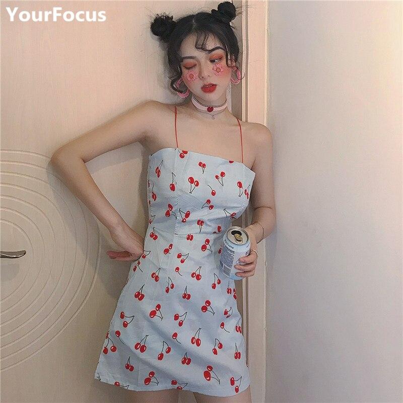 Harajuku vintage lolita kawaii cute cherry pattern blue back zipper strapless mini dresses YQ-847