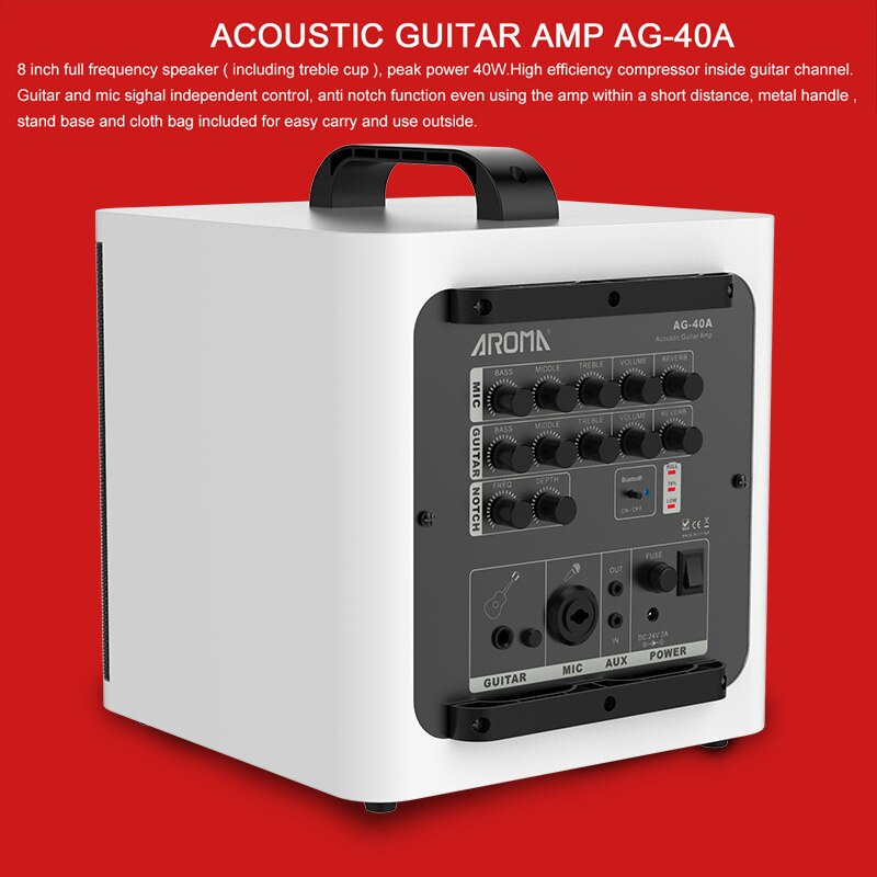 AROMA AG40A Acoustic Guitar Amplifier 40W Digital AMP Audio Speaker Box Built-in Tuner CSR Bluetooth w/ Gauge Cable Power Adapte enlarge