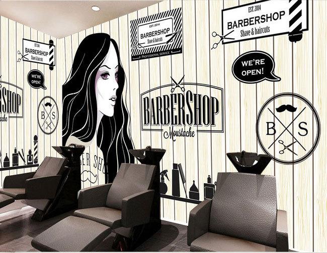Europejskie i amerykańskie retro drewno fryzjer sklep sklep kosmetyczny duży mural tapety 3d tapety sypialnia salon tv stereo 3d 16