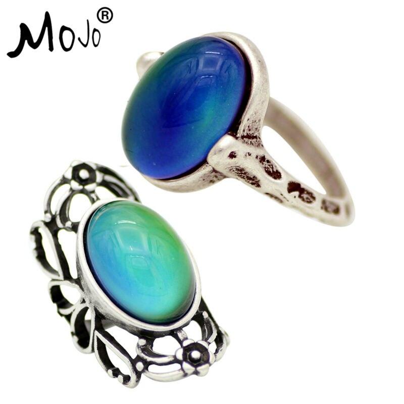2 uds anillo Vintage conjunto de anillos en los dedos anillo de humor que cambia el Color anillos de boda de fuerza para Mujeres Hombres joyería 050-053