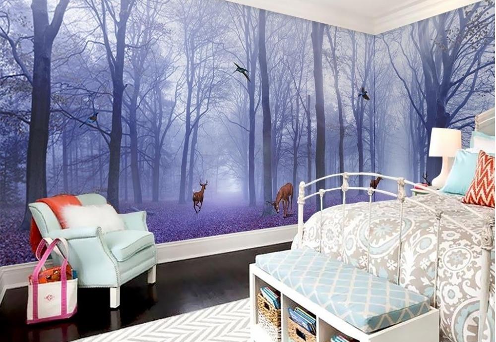 Personalizar 3d papel tapiz paredes bosque púrpura alce foto completa 3d papeles tapiz decoración del hogar sala de estar 3d pared murales papel tapiz de lujo