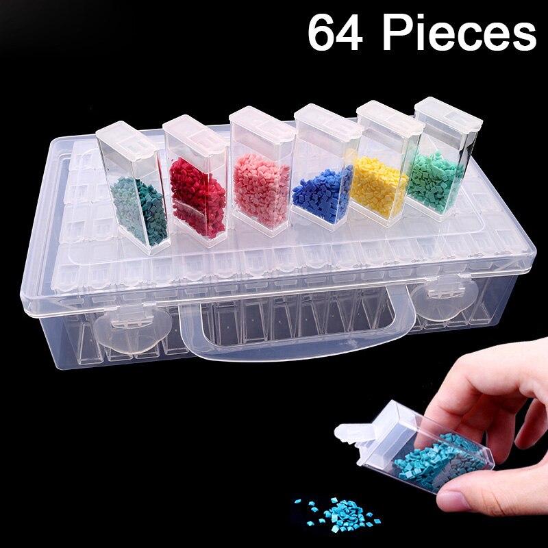 Diy Juego de Herramientas de pintura de diamantes, herramientas de bordado de mosaico de diamantes, caja de almacenamiento de plástico transparente, caja de almacenamiento de joyas, caja de regalo