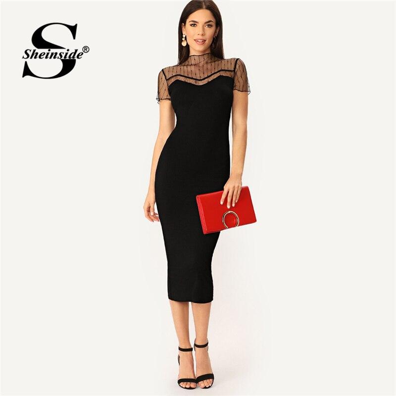 Sheinside preto listrado malha jugo lápis vestido feminino alface guarnição keyhole volta elegante midi vestidos 2020 verão bodycon vestido