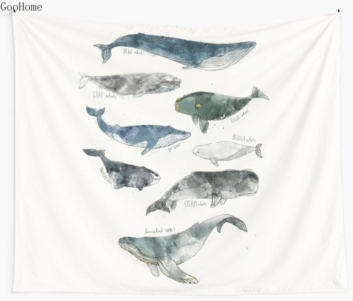 Whalis-سجادة حائط من البوليستر ، منشفة شاطئ ، سجادة يوجا ، شال