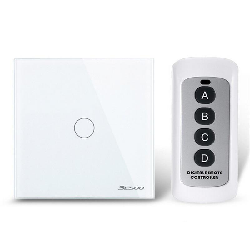 Gran venta UE/Reino Unido estándar 1 Gang 1Way interruptor de Control remoto, Interruptor táctil de luz, interruptor de luz de Control remoto inalámbrico para hogar inteligente