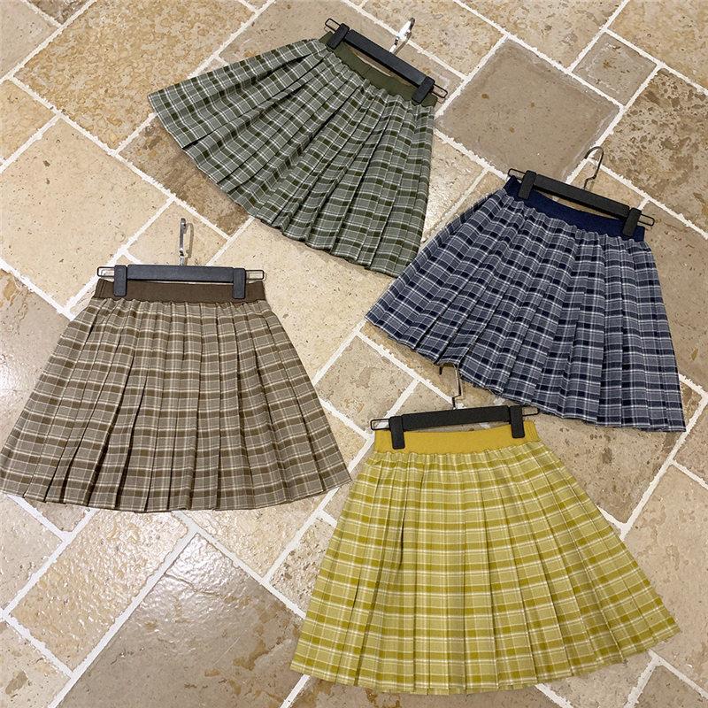 Summer Vintage Yellow Plaid Skirt Women High Waist Japan School Girls Harajuku Uniform Pleated Cosplay Costumes A Line Skirts