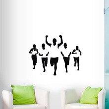 Stickers muraux décoratifs de Marathon   Stickers muraux de décoration de maison, de sport dathlétisme, murale de jeu de cinq hommes amovible, murales dart