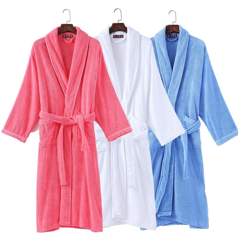 New Bathrobes Men Kimono Lovers Warm Couple Sleepwear Robe Women Lady 100% Cotton Nightwear Robes Male Soft Bathrobe Winter недорого