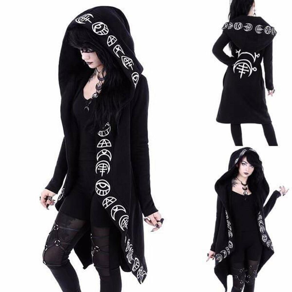 Gothic Punk Jacket Letter Printing Women Black Hooded Plus size Winter 2019 Coat Female Long Womens Jackets And Coats Clothing