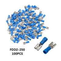 100PCS FDD2-250 Female Terminals Insulated Electrical Crimp Terminal set for 1.5-2.5mm2 Connectors Cable Wire Connector