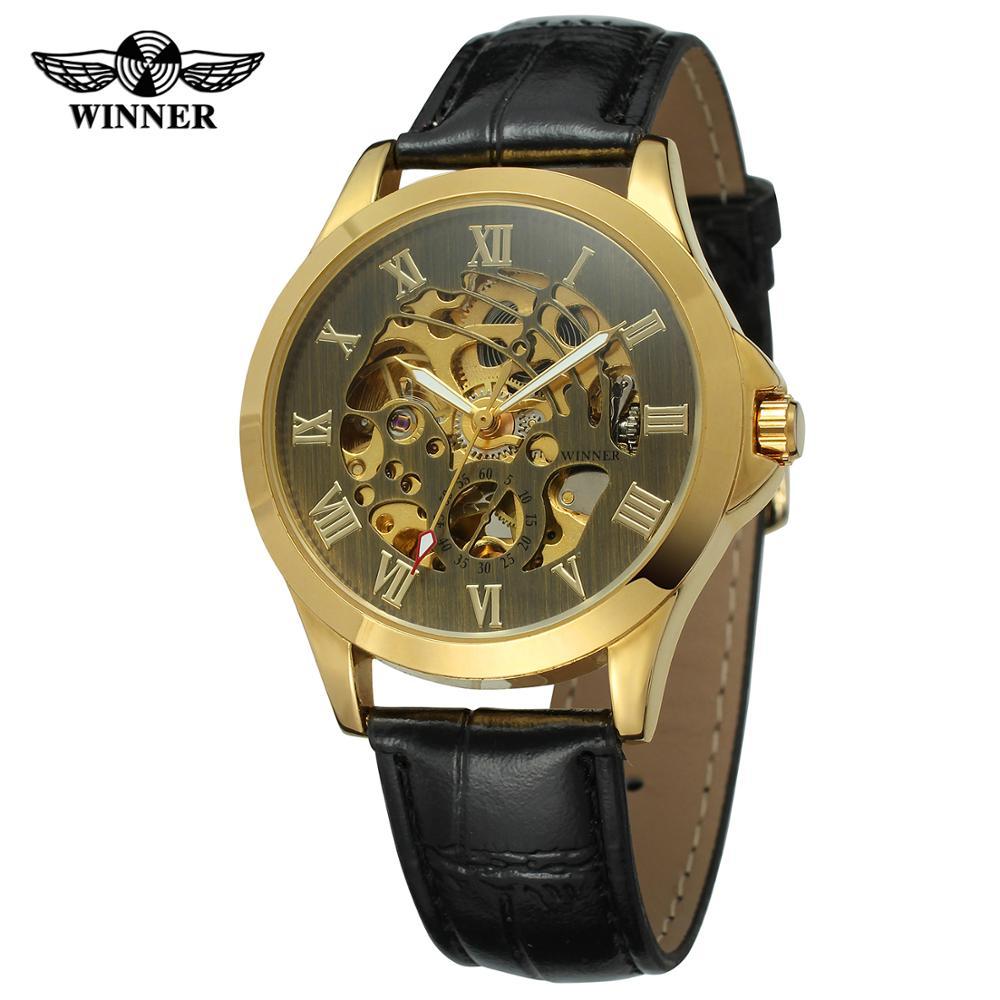 Preto e Dourado Superfície com Algarismos Pulseira de Couro Relógio Vencedor Numerais Romanos Preto Automático Masculino