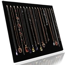 Black Velvet 17 Hook Necklace Jewelry Tray Display Organizer