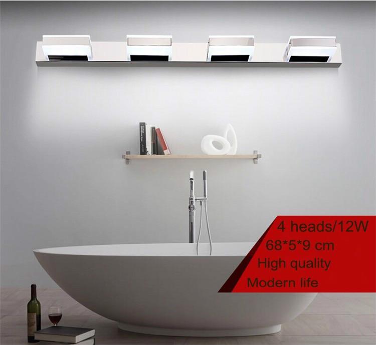 68cm 12W 4 têtes LED moderne acrylique applique murale salle de bain miroir lumière, applique murale en acier inoxydable, usine de lumière Led