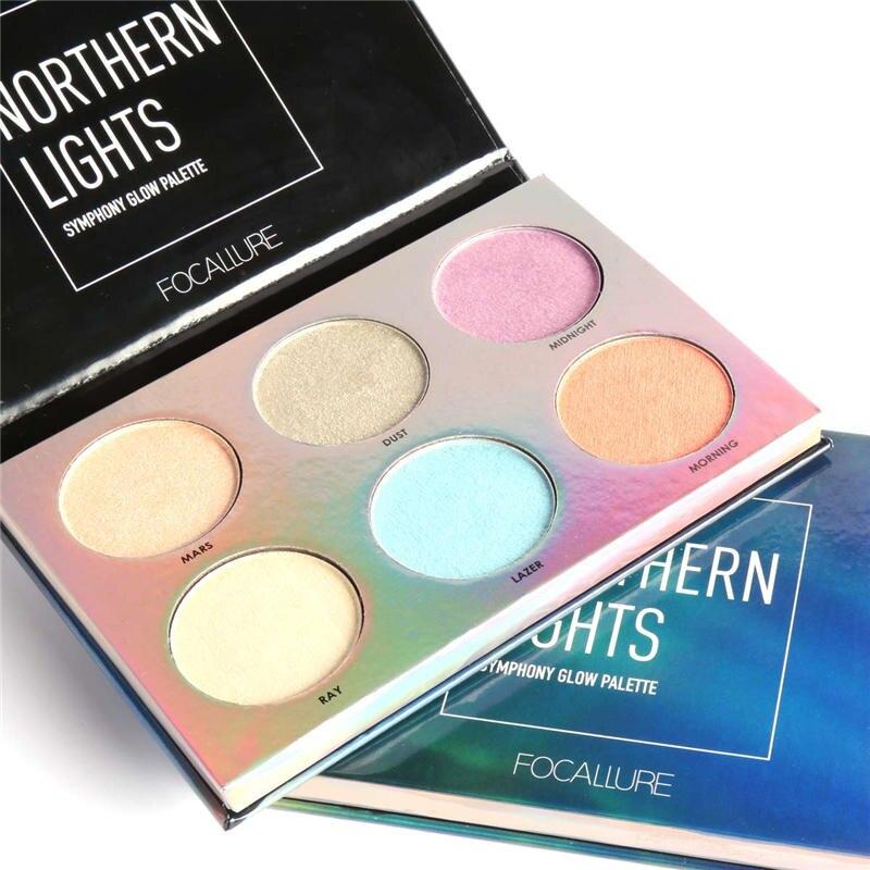 Paleta resaltadora de brillo resaltador de Flash en polvo cara brillante polvo de presión maquillaje de contorneado Aurora Glow Kit 6 colores/Kits
