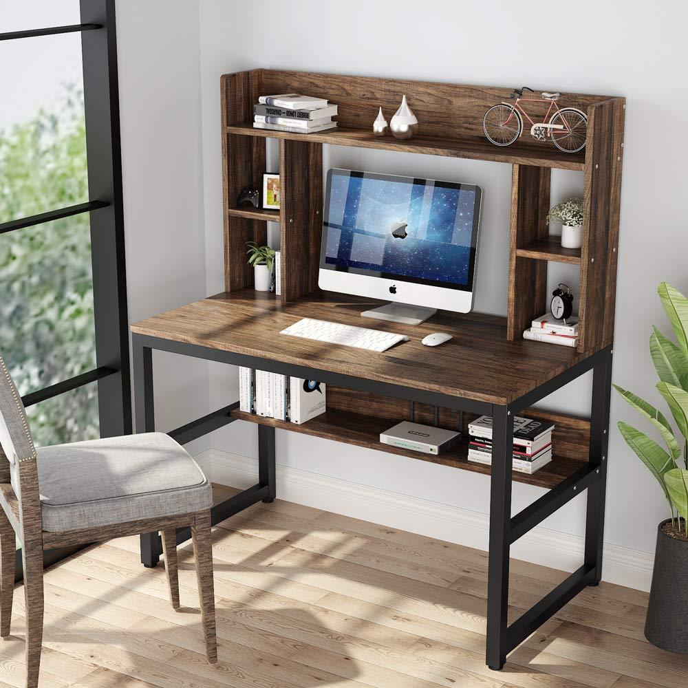 Компьютерный стол с Hutch, современный письменный стол с полками для хранения, учебный стол, игровая рабочая станция для дома и офиса