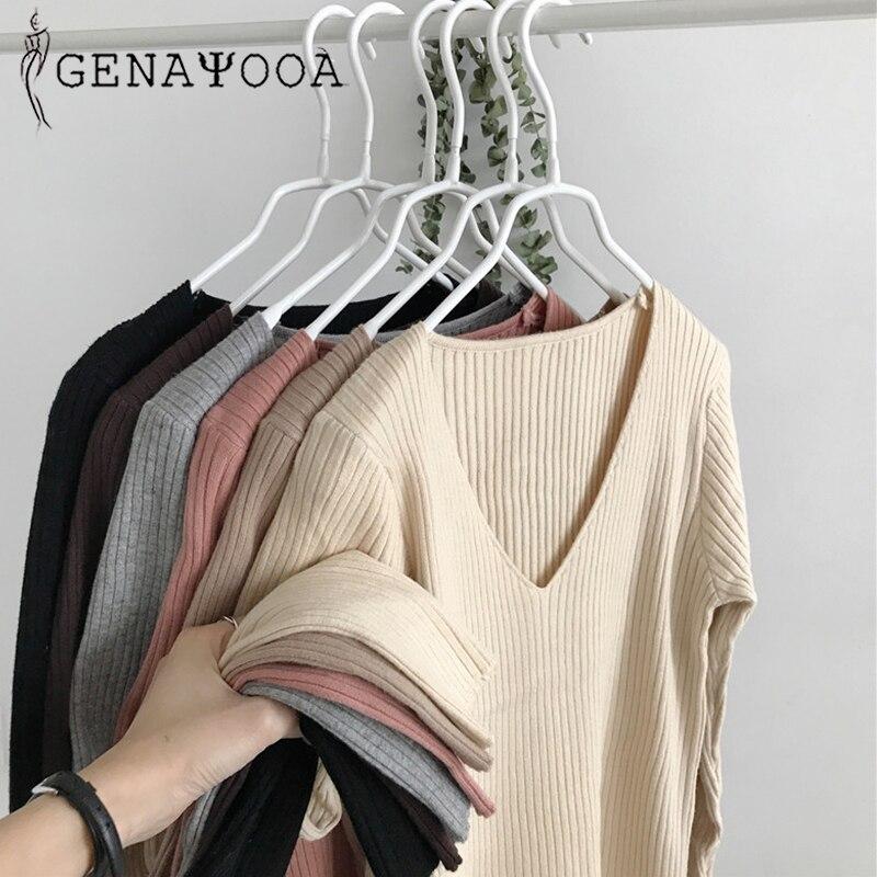 Женский вязаный свитер genayoa, черный свитер с треугольным вырезом и длинным рукавом
