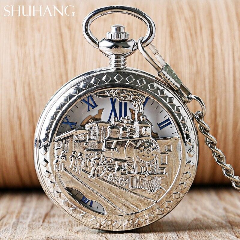 Relojes SHUHANG esqueleto, regalos para hombres y mujeres, cuerda a mano mecánica, reloj de bolsillo, tren de vapor para correr, medio cazador, reloj colgante clásico