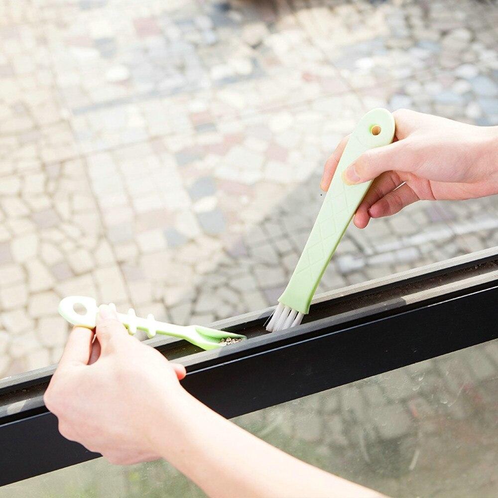 Portátiles cuadernos Ketboard cepillo de limpieza de ventanas con recogedor plástico Nylon cerdas ranura esquina Gap Brush Limpiador de cocina F503