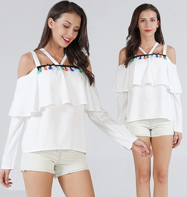 S-XL women new ruffles strap slash neck tops lady slim casual leisure tops spring autumn pure color tops