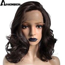 Perruque Lace Front Wig synthétique mi-longue-Anogol   Body Wave court naturel en Fiber haute température marron foncé, Free Part pour femmes