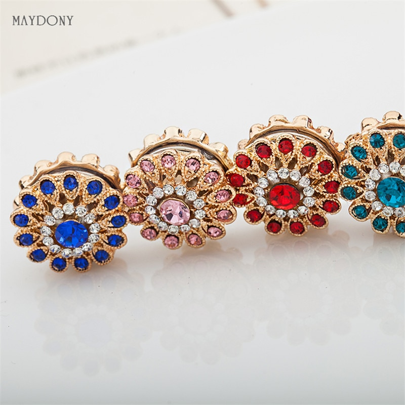 XT58-6pcs Fashion Rhinestones Flower Brooches Pin Scarf Buckle Metal Muslim Headwear Abaya Khimar Ma