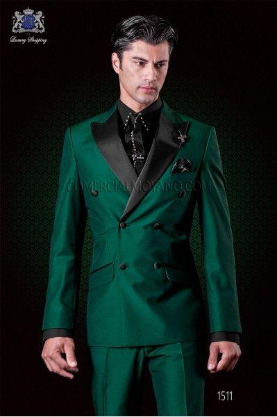 Latest Coat Pant Designs Italian Green Satin Men Suit Slim Fit 2 Piece Double Breasted Tuxedo Custom Prom Suits Blazer Masculino