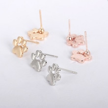 Cute Little Puppy Dog Kitty Cat Footprint Paw Metallic Golden Silver Plated Stud Earrings for Women