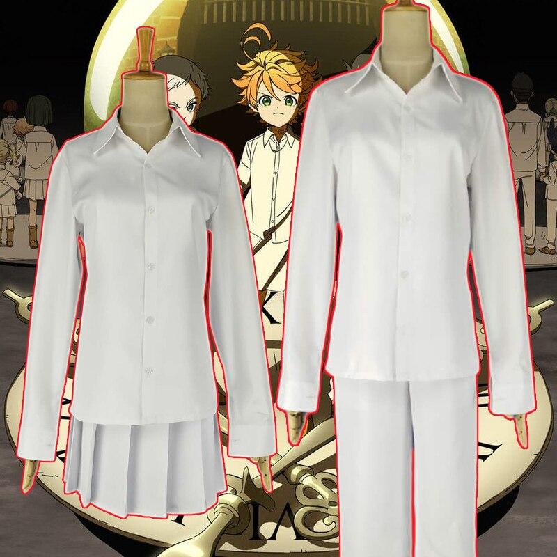 El disfraz de Cosplay de Neverland prometido de Anime Yakusoku no Neverland Emma Norman Ray, disfraz de Cosplay para mujeres y hombres, uniformes escolares