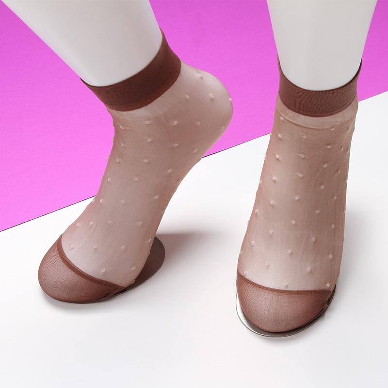 Polka Dot Mesh Socks Women Summer New Fashion Sock Ladies Breathable Lace Transparent Stretch Ankle Sock Streetwear Sox