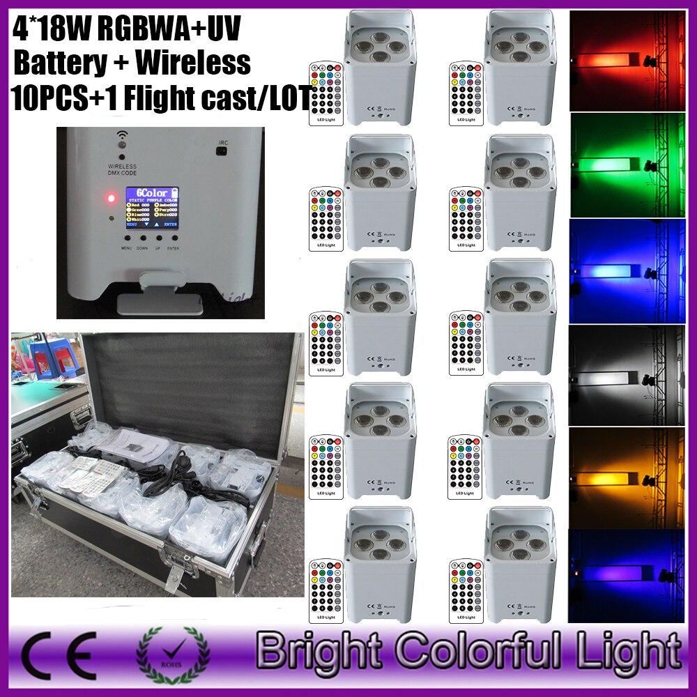 10 Uds + 1 volar caso/lote led batería DJ luz bar rgbawuv 4x18w inalámbrico dmx control remoto mini slim par uplight