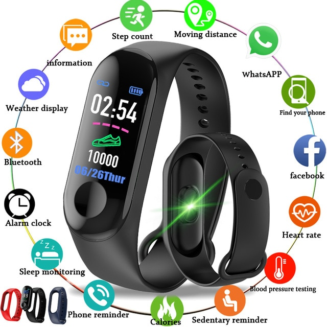 Pulsera inteligente M3 Fitness Monitor de ritmo cardíaco presión arterial pantalla táctil colorida pulsera inteligente con correa contador de pasos para hombres niños