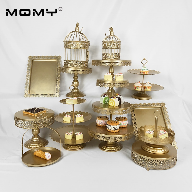 13 Pcs Cupcake Gold Crystal 3 Tier Metal Hanging Plated Modern Wedding Cake Stand