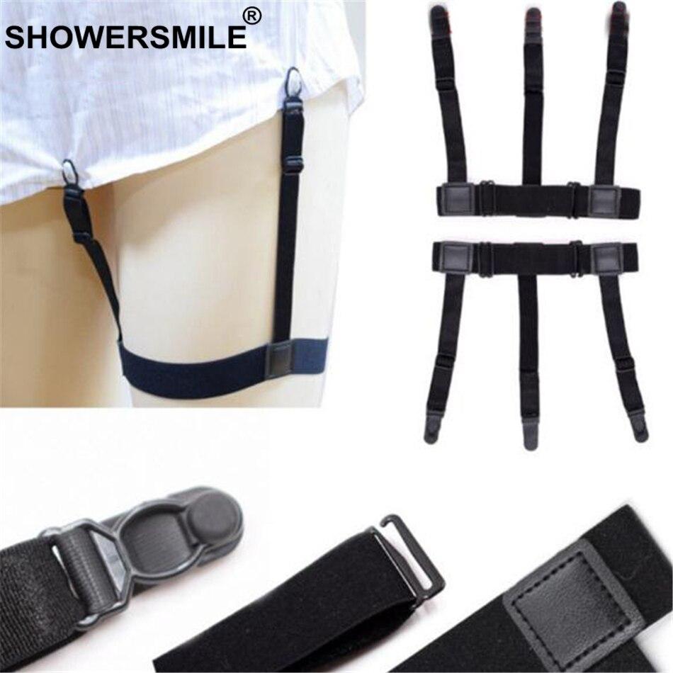SHOWERSMILE, camisa negra para hombre, ligas de pierna, elástico ajustable, tirantes de camisa para hombre, tirantes de caballero, cinturón sólido de soporte de camisa