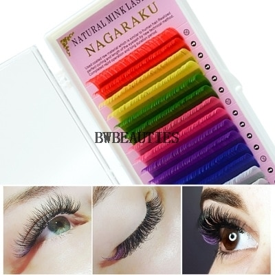 8 Colors Rainbow Colored Eyelash Extension Faux Mink color eyelashes colorful cilia eyelash extension 500cases/lot