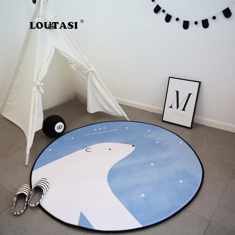 LOUTASI-سجادة دائرية مطبوعة على شكل دب ، ملحق لغرفة المعيشة وغرفة نوم الأطفال ، غير قابل للانزلاق ، لكرسي الكمبيوتر ، غرفة المرحاض