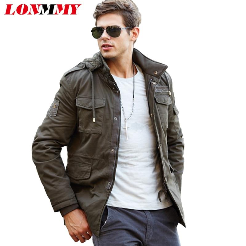 LONMMY Hoodies windbreaker Cotton military men jacket Velvet Thick Mens jackets and coats Bomber Hooded 2018 Winter jacket men