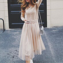 Automne hiver femmes robe pull femmes à manches longues robe Vintage Patchwork maille robe tricotée noël Maxi robe longue