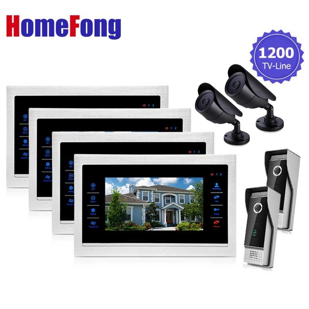 Homefong 7 بوصة فيديو إنترفون فيديو باب الهاتف الجرس نظام مراقبة 4 شاشات 2 الجرس 2 كاميرا