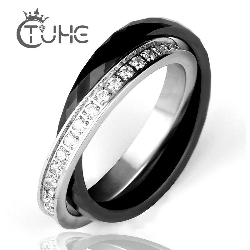 Mujeres anillos de cerámica anillos de acero inoxidable doble dos anillos de cristal CZ bijou ceramique anillo de acero inoxidable