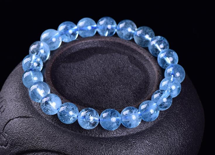 Venta al por mayor, pulsera elástica de 9mm para mujer, cuentas redondas de cristal de cuarzo azul Natural genuino, joyería, pulsera de dijes para mujer